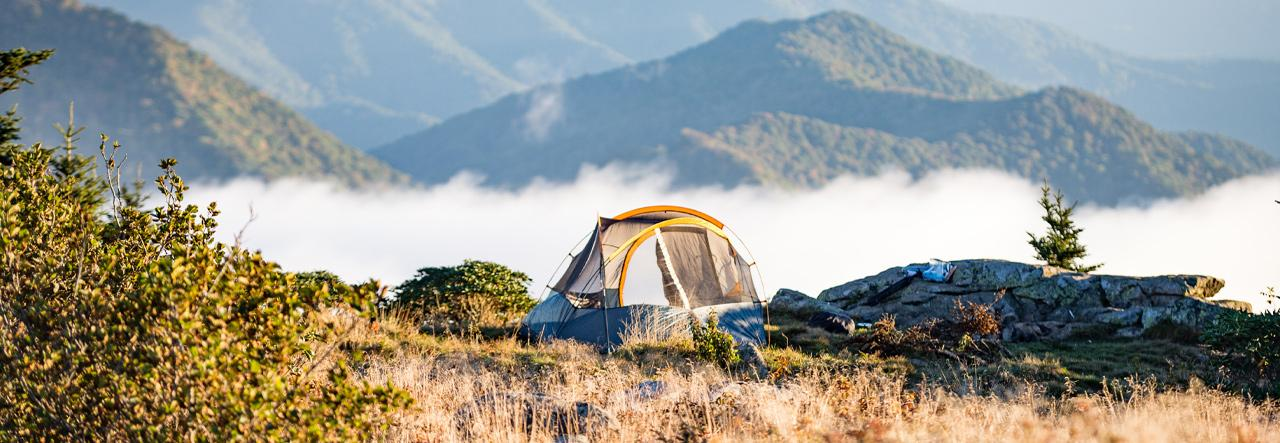 Tent camping in the mountains