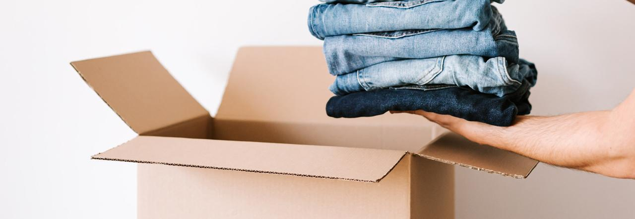 Putting jeans into a box