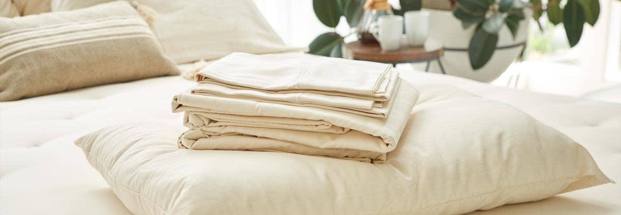 naturepedic organic pillows and sheets on halcyon arcadia organic mattress