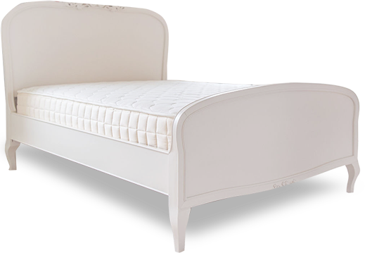 Twin mattress in bed frame on white background