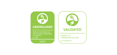 Greenguard Gold and Formaldehyde-Free Certified Logos