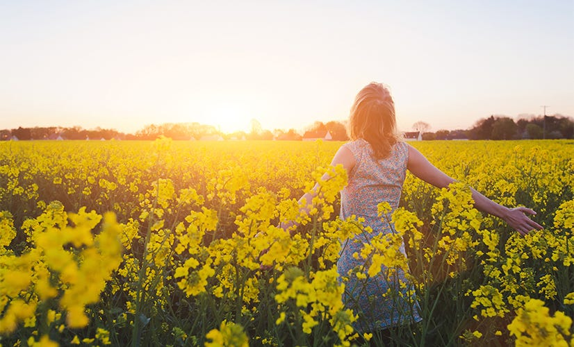 Woman enjoying the sunset in a field of yellow flowers