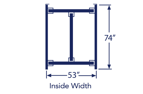 """Illustration of full bed frame with listed dimensions of 53"""" x 74"""""""