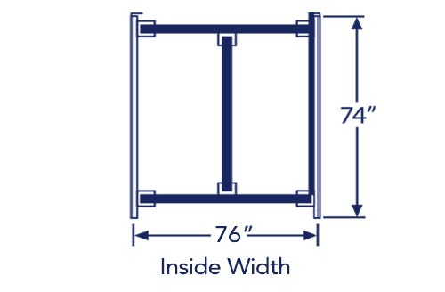 """Illustration of king bed frame with listed dimensions of 76"""" x 74"""""""