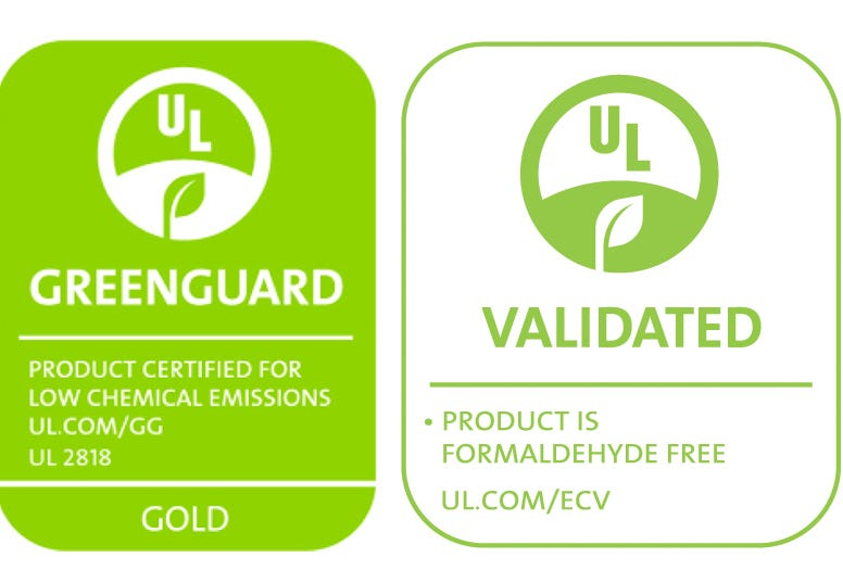 Greenguard Gold and Formaldehyde Free Certification Logos