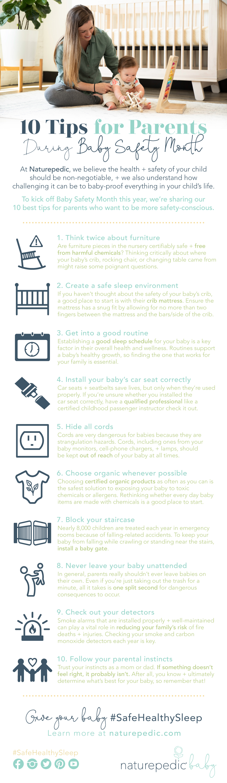 naturepedic infographic 10 tips for parents during baby safety month