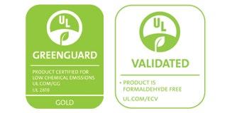 UL Greenguard Gold and Formaldehyde Free Certification Logos
