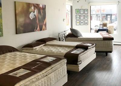mattresses inside organic mattress gallery in Denver Colorado