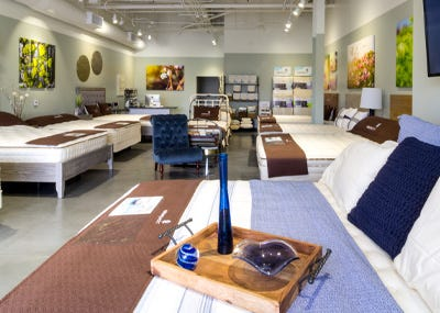 mattresses inside organic mattress gallery in Irvine California