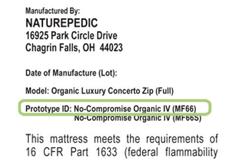 Part of product law tag highlighting where to find the prototype id